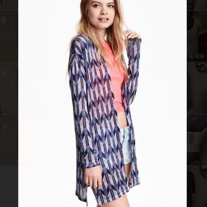 H&M Blue Patterned Fine Knit Cardigan, Size: L